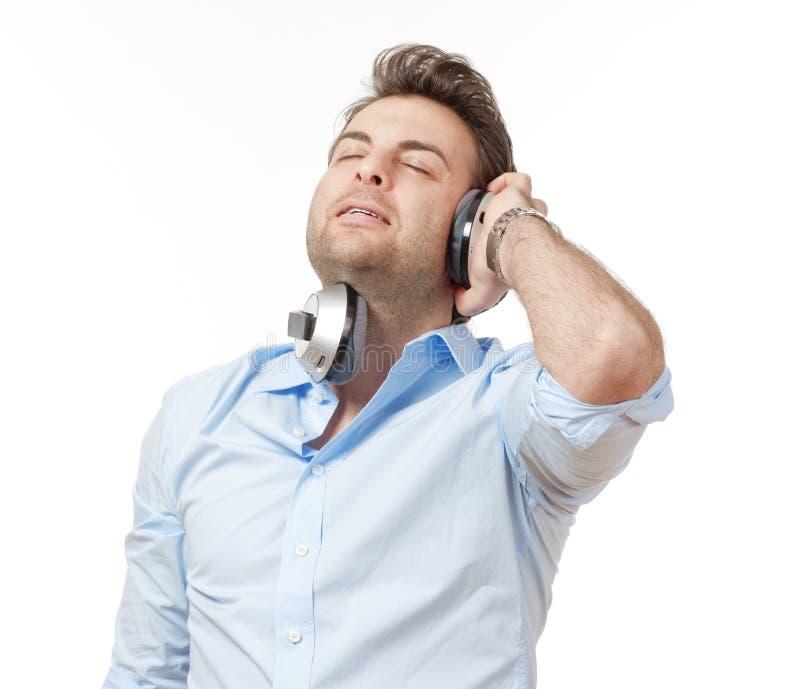 человек наушников стоковое изображение rf