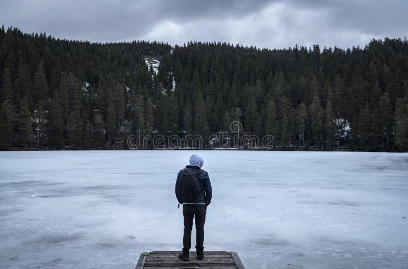 Человек на замерзанный lakeshore на холодный зимний день стоковое фото
