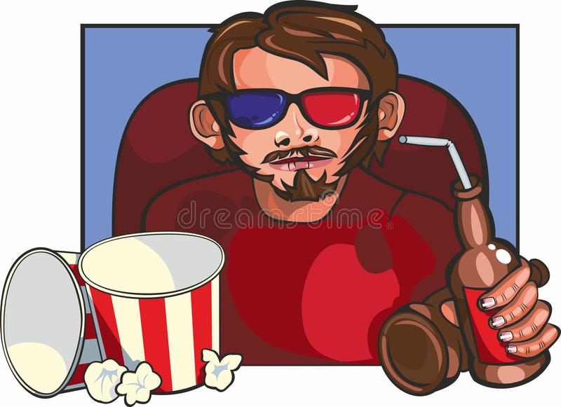 Человек на кино стоковое изображение