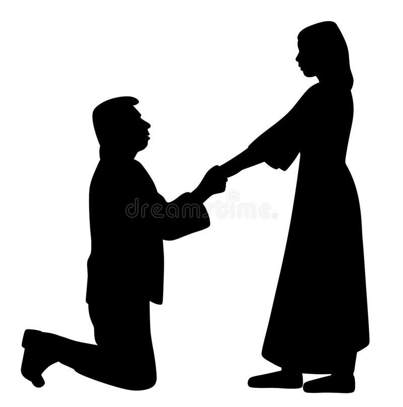 Человек на коленях держа руки женщины и спрашивая, что она поженилось бесплатная иллюстрация
