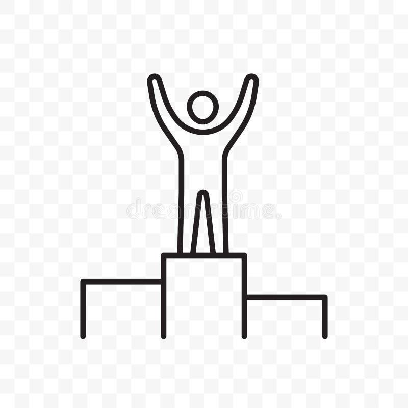 Человек на постаменте вручает поднятую линию значок вектора бесплатная иллюстрация