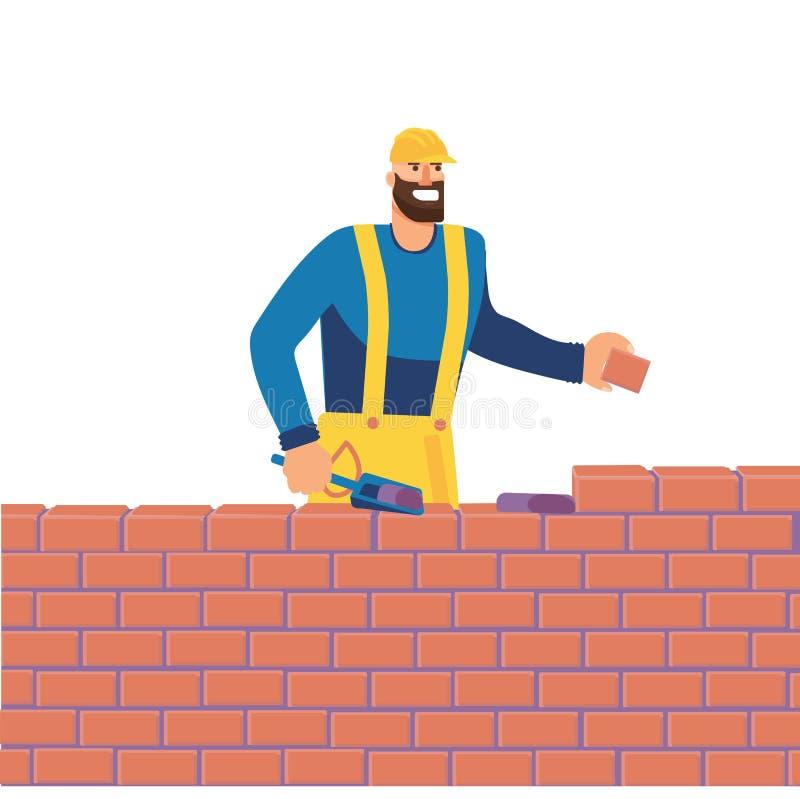 Человек на строительной площадке кладет вне кирпичи с цементом Строения построителя кирпичная стена Иллюстрация жилищного строите иллюстрация штока