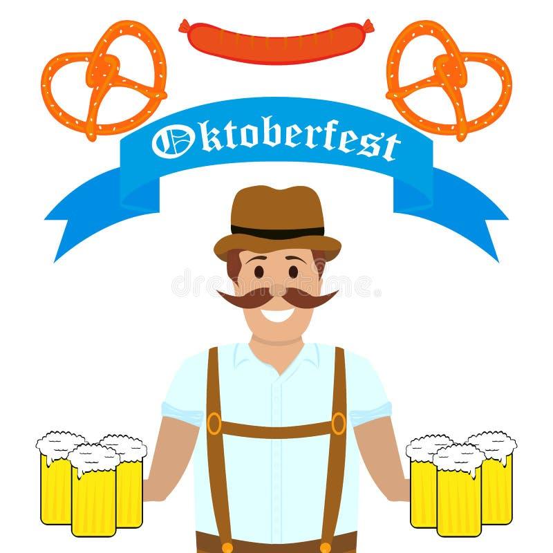 Человек на фестивале Oktoberfest иллюстрация штока