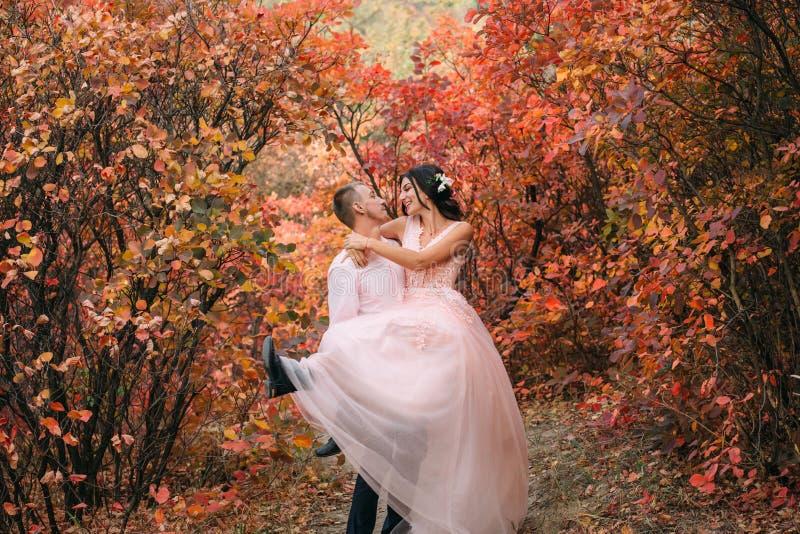 Человек носит девушку в ее оружии На невесте розовое платье Любовники смеются над и смотрятся в глаза ` s одина другого стоковая фотография