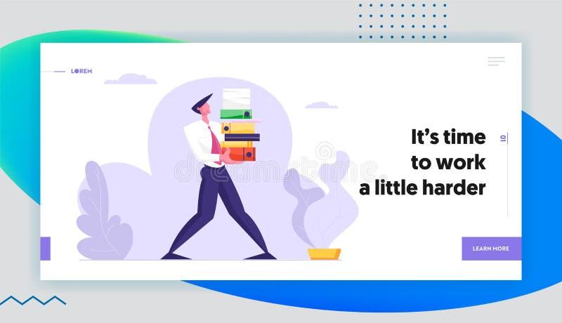 Человек носит огромный стейк документов Бизнесмен, перегрузка характера работника офиса на работе, очень занятом дне, менеджере иллюстрация вектора