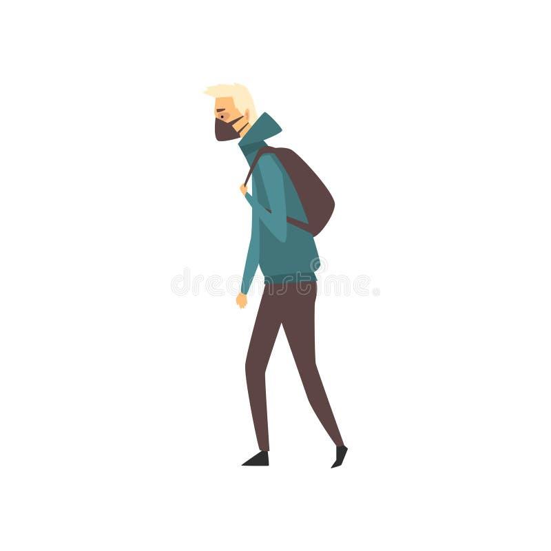 Человек нося защитный лицевой щиток гермошлема, страдание людей от промышленной иллюстрации вектора смога иллюстрация штока