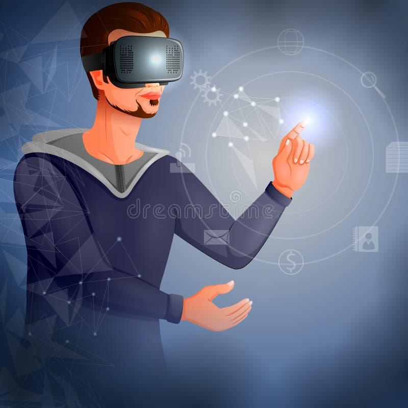 Человек нося стекла шлемофона виртуальной реальности VR и испытывая футуристическую технологию cyberscape иллюстрация штока