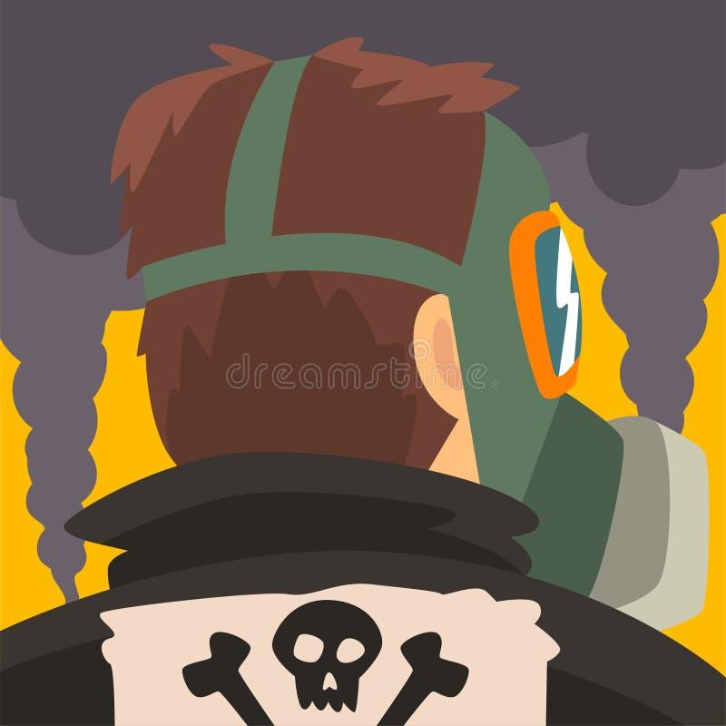 Человек нося страдание защитной маски от точной пыли, промышленного смога, человека на предпосылке промышленного ландшафта и иллюстрация штока