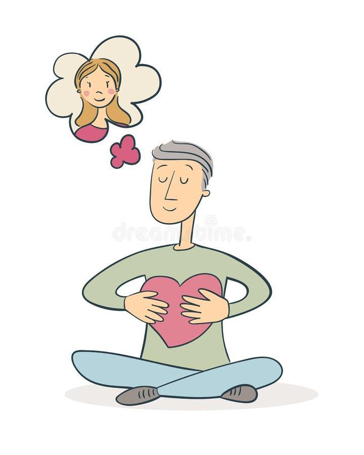 Человек обнимая сердце и думая о женщине иллюстрация штока