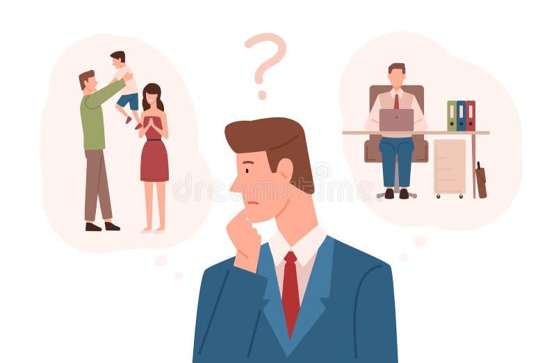 Человек одел в деловом костюме выбирая между ответственностями семьи и карьерой Трудный выбор, дилемма жизни бесплатная иллюстрация