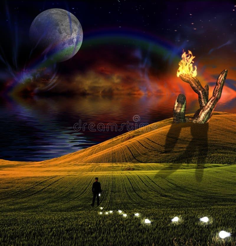 человек озера идей спокойный иллюстрация штока