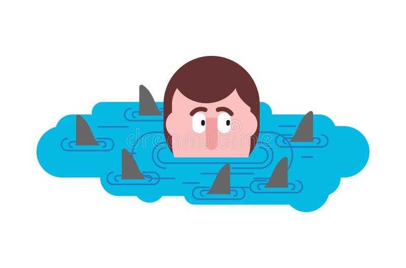 Человек окруженный акулами Отчаяние бизнесмена безвыходная ситуация бесплатная иллюстрация