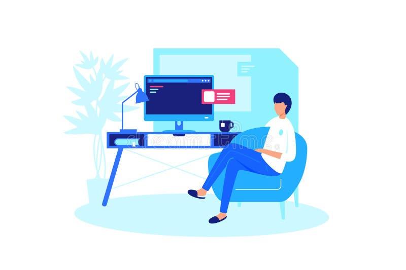 Человек ослабляет дома компьютер иллюстрация штока