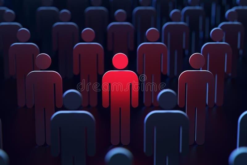 Человек отметил красное между другими людьми как концепция опасности перевод 3d стоковая фотография