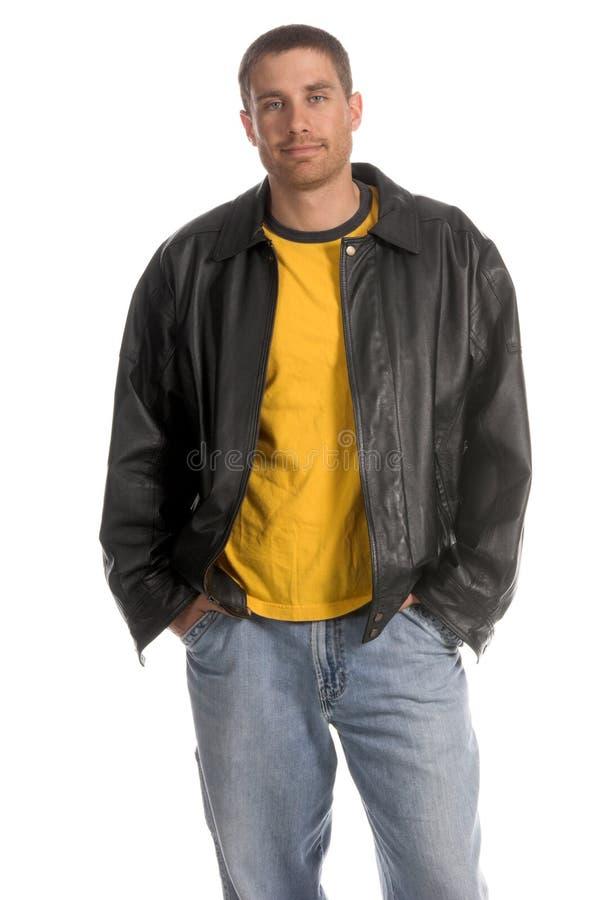 человек пальто кожаный стоковые фото