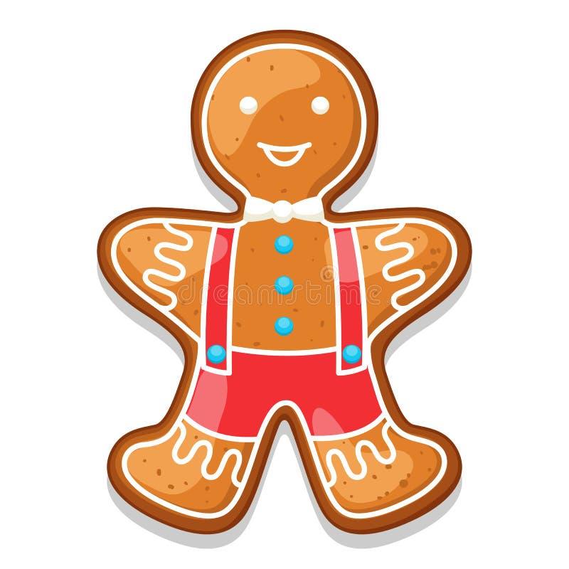 Человек печений пряника Иллюстрация с Рождеством Христовым помадок иллюстрация вектора