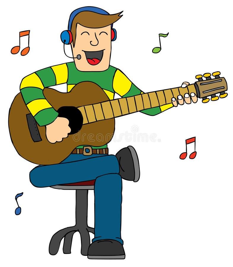 Человек пея с гитарой Стоковые Изображения