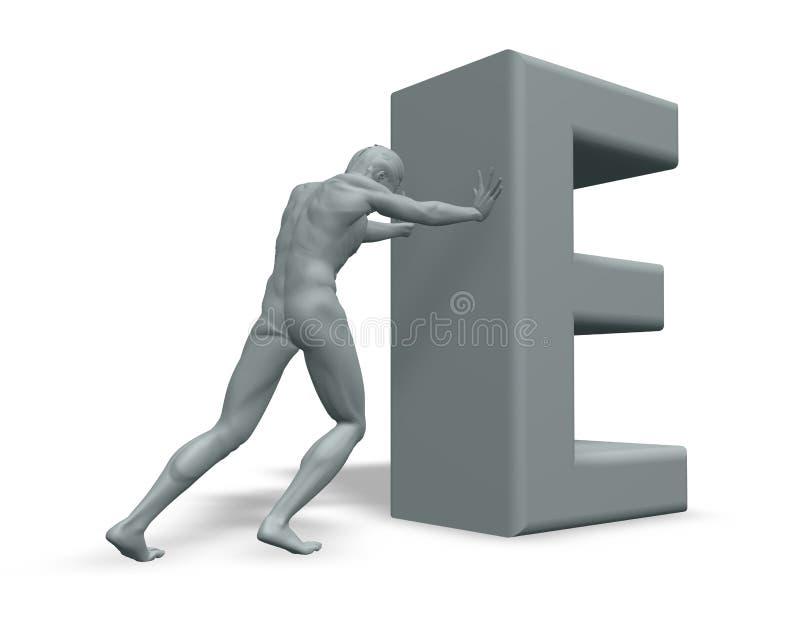 человек письма e нажимает uppercase иллюстрация штока