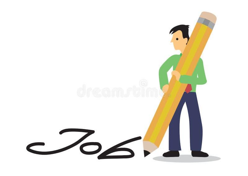 Человек пишет работу с гигантским карандашем на поле Cocnept искать карьеры иллюстрация штока