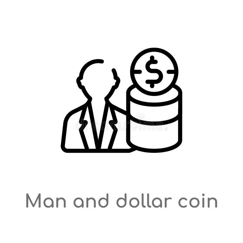 человек плана и значок вектора монетки доллара изолированная черная простая линия иллюстрация элемента от концепции урожайности e иллюстрация штока
