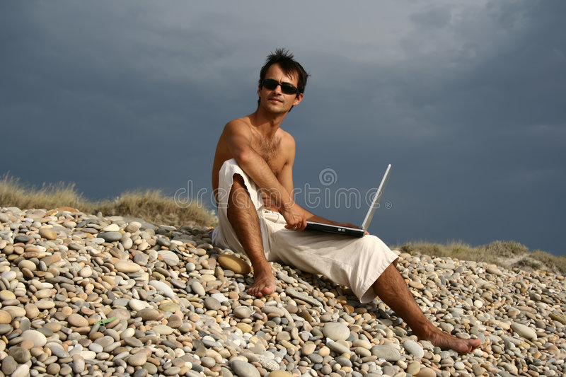 человек пляжа стоковая фотография