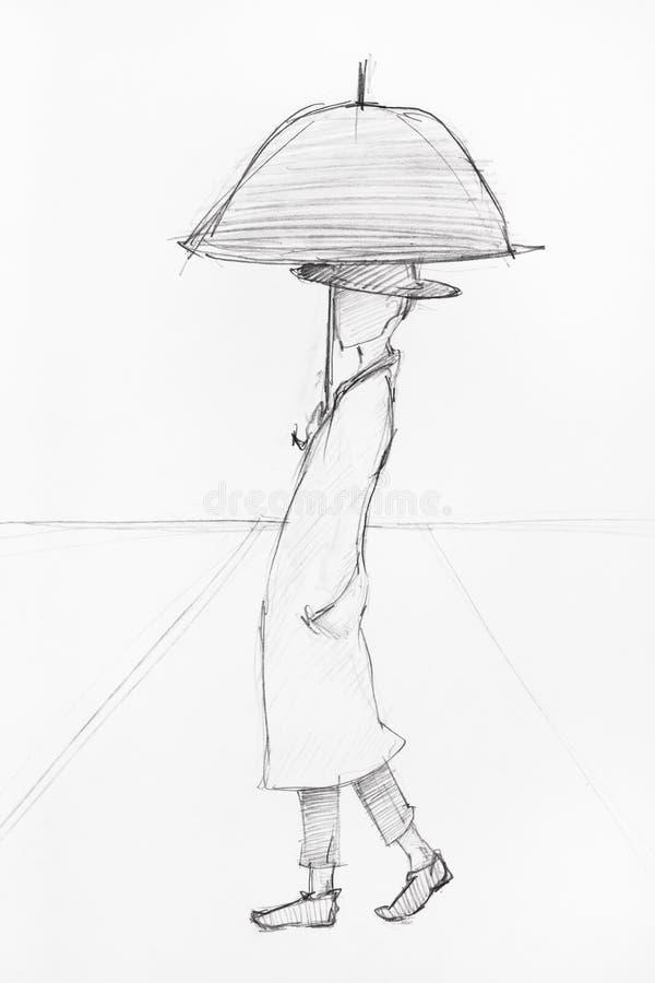 Человек под зонтиком с линиями перспективы иллюстрация штока