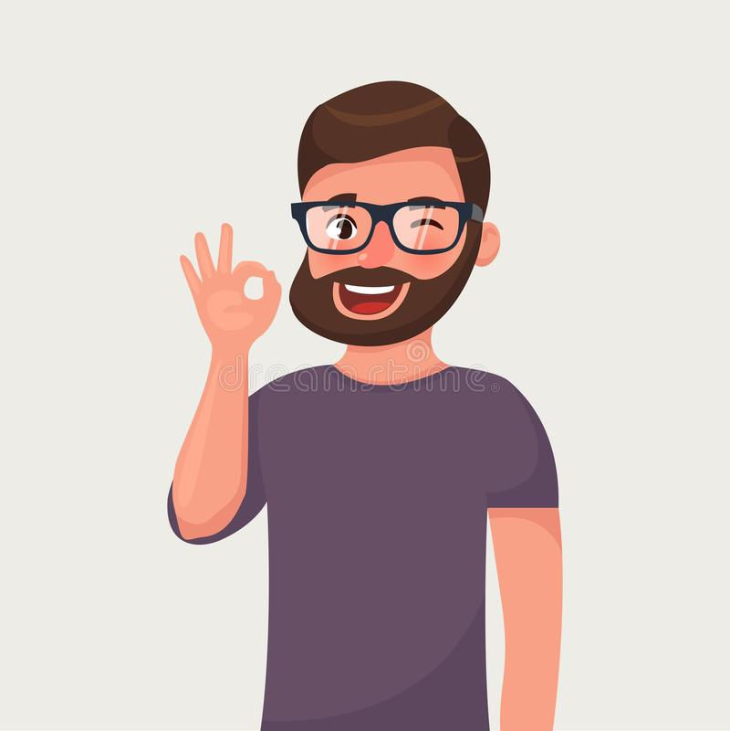 Человек показывает о'кей жеста Иллюстрация вектора в стиле шаржа иллюстрация вектора