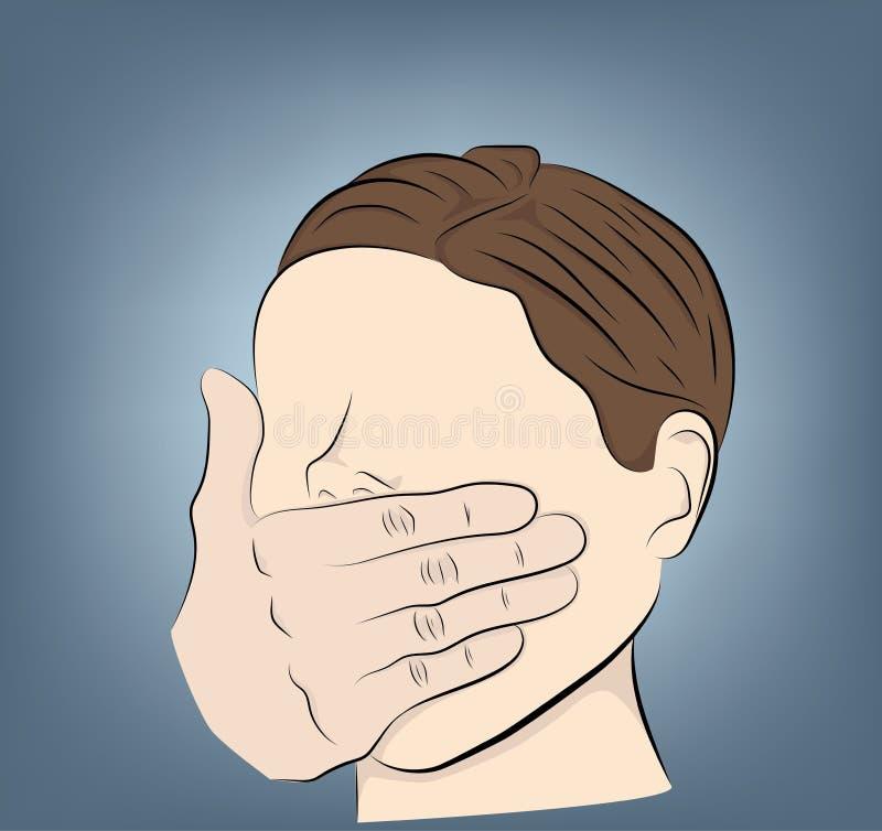 Человек покрывает его рот с его рукой насилие, страх r иллюстрация вектора