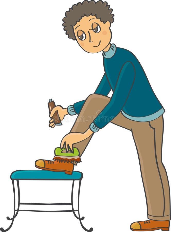Человек полирует его ботинки бесплатная иллюстрация
