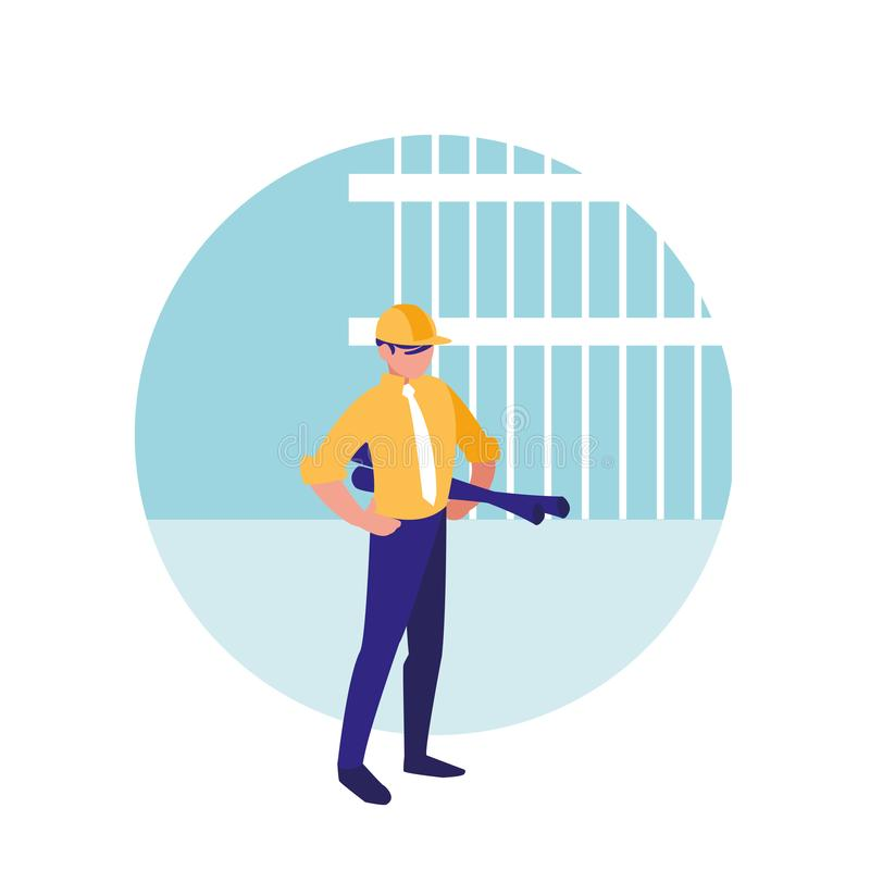 Человек построителя с характером воплощения светокопий бесплатная иллюстрация