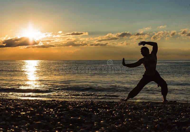 Человек практикуя Wushu на заходе солнца Силуэт человека на заходе солнца стоковые фото