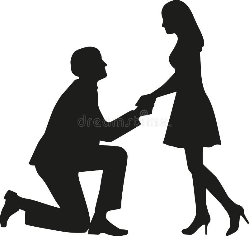 Человек предложения на коленях спрашивая, что его жена поженилась он бесплатная иллюстрация