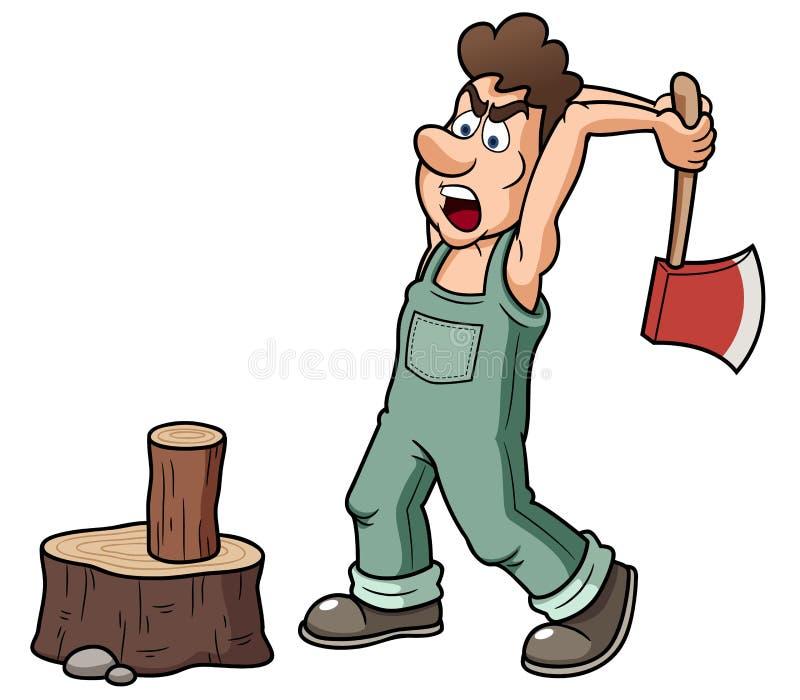 Человек прерывая древесину бесплатная иллюстрация