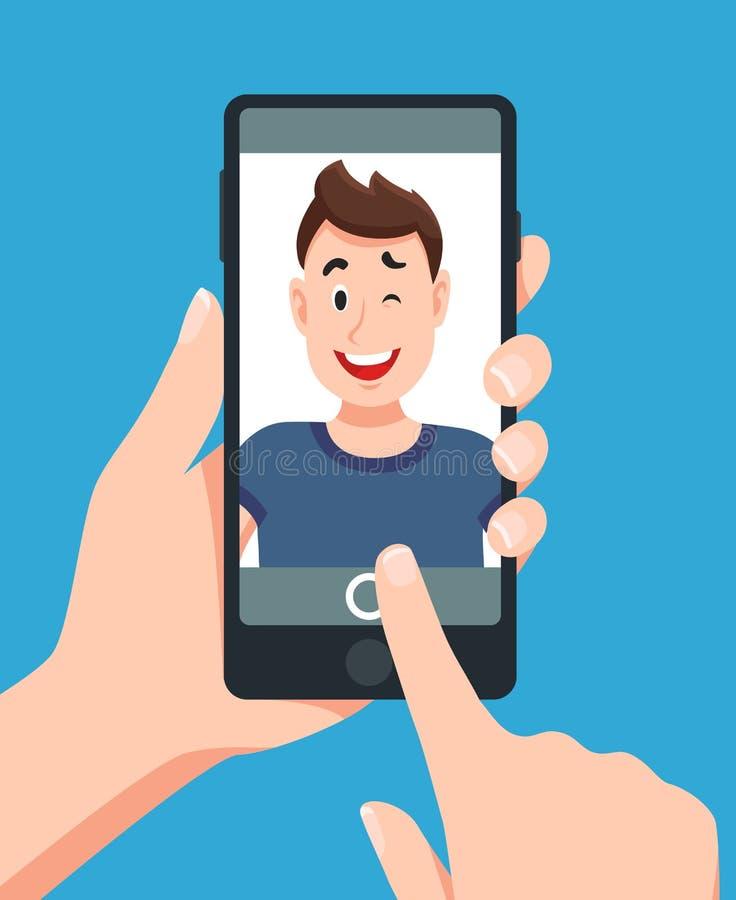 Человек принимая портрет selfie smartphone Касающая иллюстрация вектора шаржа фото телефона иллюстрация штока