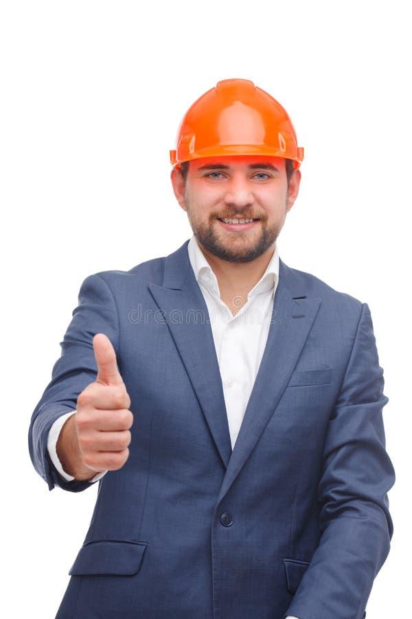 Человек при борода, показывая большие пальцы руки вверх и усмехаться На белой предпосылке стоковое изображение rf