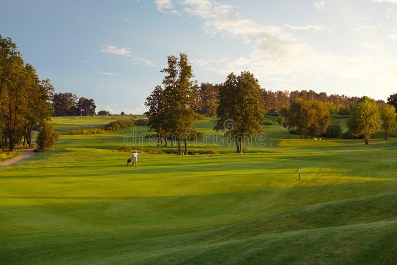 Человек при его игроки в гольф сына идя на поле для гольфа стоковые фотографии rf