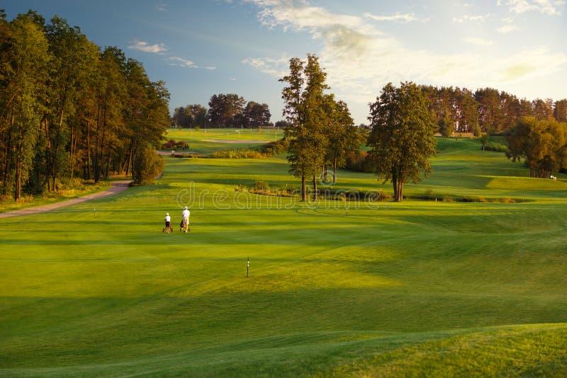 Человек при его игроки в гольф сына идя на поле для гольфа стоковые изображения