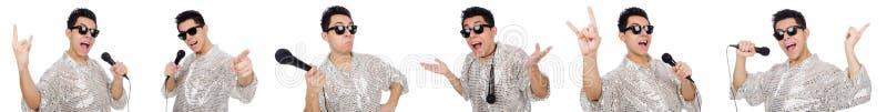 Человек при mic изолированный на белизне стоковое фото