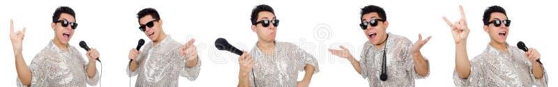 Человек при mic изолированный на белизне стоковая фотография