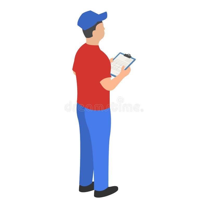 Человек проверяя значок склада, равновеликий стиль бесплатная иллюстрация