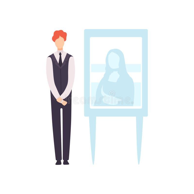 Человек продавая картину в художественной галерее, иллюстрации вектора процесса аукциона бесплатная иллюстрация