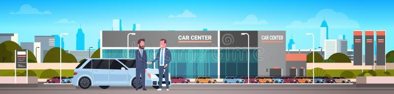Человек продажи приобретения или продавца проката разбивочный давая ключи к знамени предпосылки выставочного зала автомобиля пред бесплатная иллюстрация