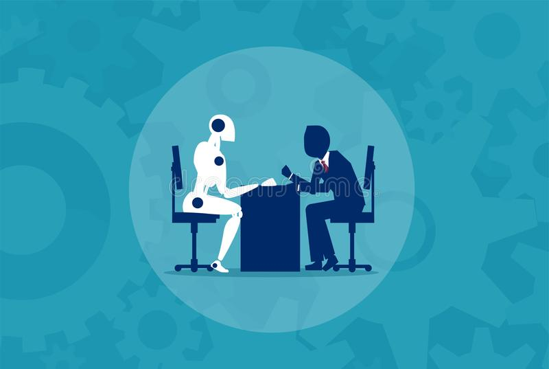 Человек против концепции машины робота иллюстрация штока
