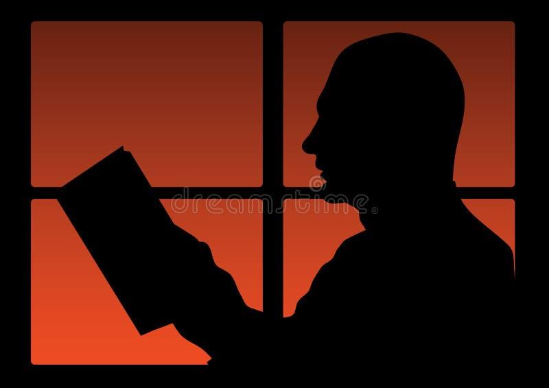 человек прочитал иллюстрация вектора