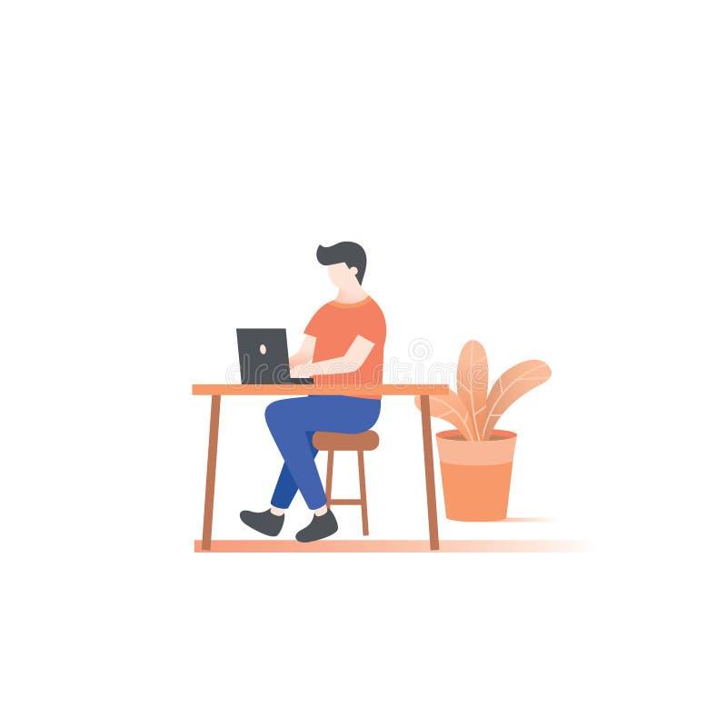 Человек работая на векторе иллюстрации стола на белой предпосылке иллюстрация вектора