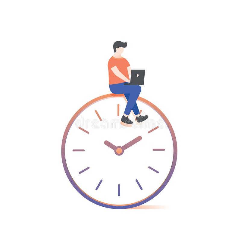 Человек работая на векторе иллюстрации часов на белой предпосылке бесплатная иллюстрация