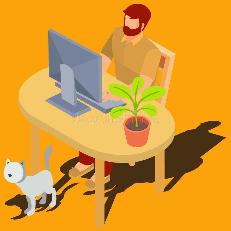 Человек работая на векторе компьютера дома равновеликом бесплатная иллюстрация