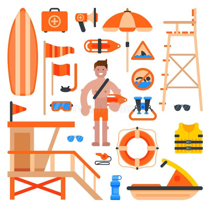 Человек работника спасателя спасителя на пляже и спасательного пляжа личной охраны обслуживания изобретает иллюстрацию вектора иллюстрация вектора