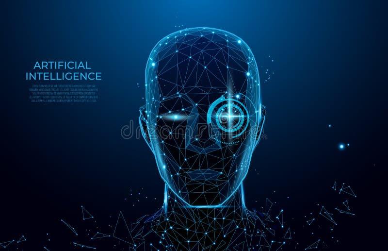 Человек робота или киборга с AI Робот с искусственным интеллектом Машина, уча Биометрическая сканирование, сканирование 3D ID сто иллюстрация штока