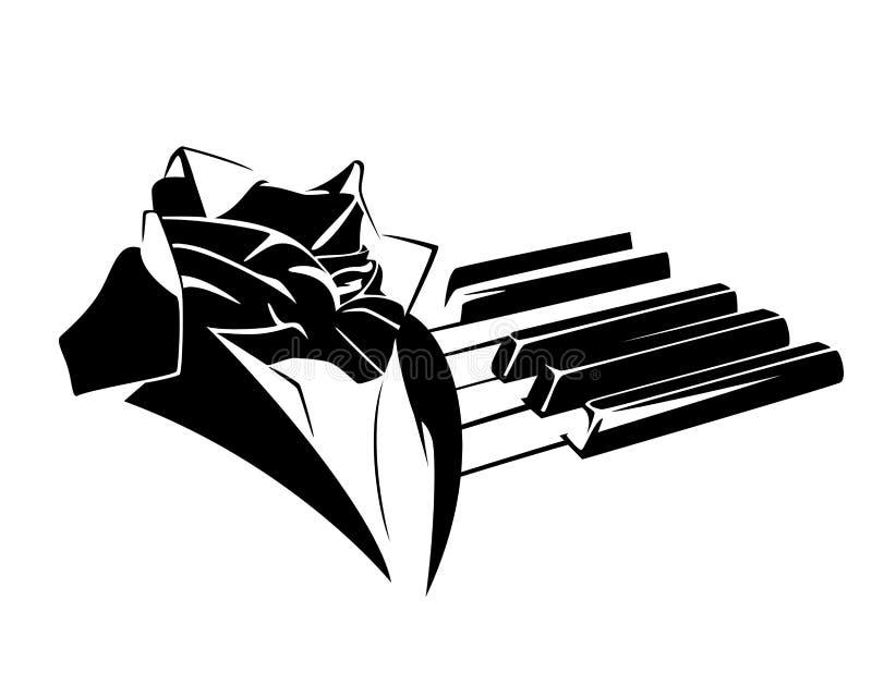 Человек рояля и дизайн вектора классической музыки черный иллюстрация вектора